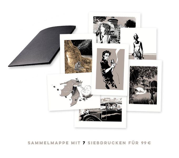 7 Zeichner - 7 Siebdrucke! 7 der besten deutschen Comiczeichner gewähren Einblicke in ihre Ateliers.