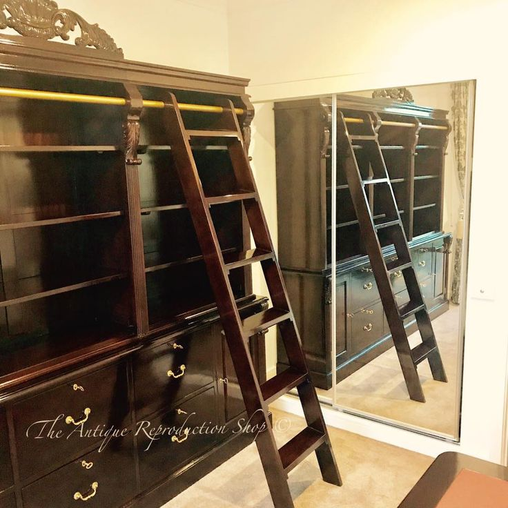 Large book case with ladder. Custom design