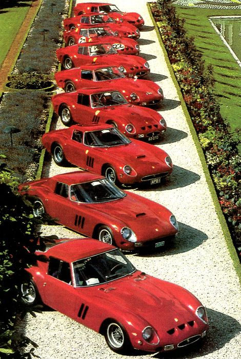 Ferrari 250 GTO's This is an expensive row of cars. They sell for 30 to 40 million each.