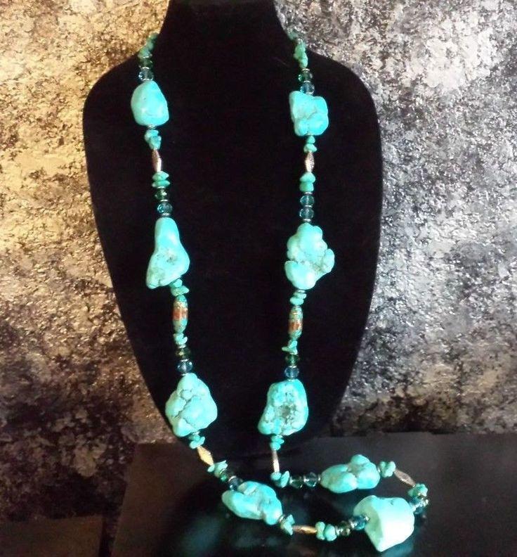 Lagenlook Jewellery: Turquoise Nugget Flapper Necklace Blue Magnesite Lagenlook