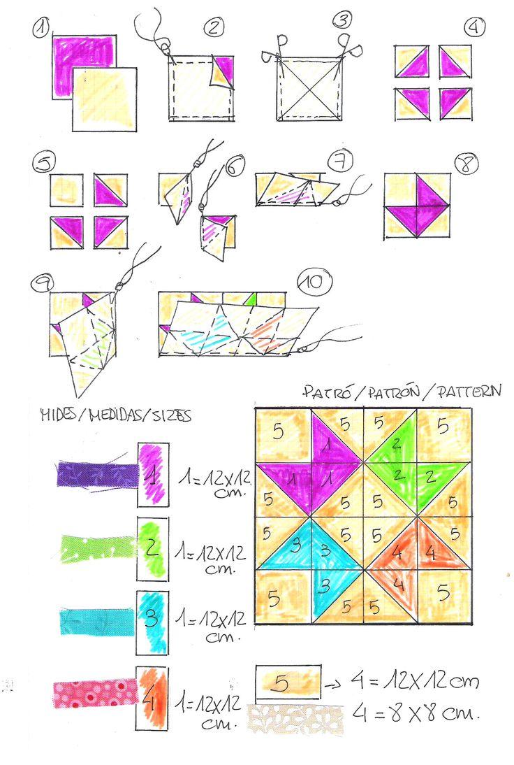 ARM - MOLDES, ESQUEMAS O PATRONES. TECNICA: PATCHWORK.///// #patchwork #quilt #tutorial