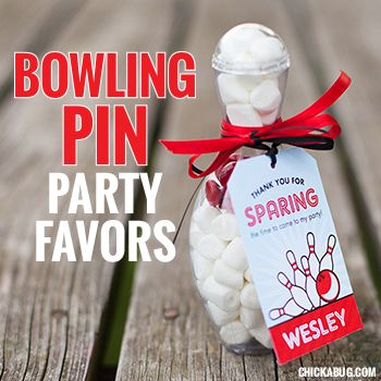 These candy-filled bowling pins are the BEST EVER bowling party favors! They're fast, easy, and just so stinkin' cute.
