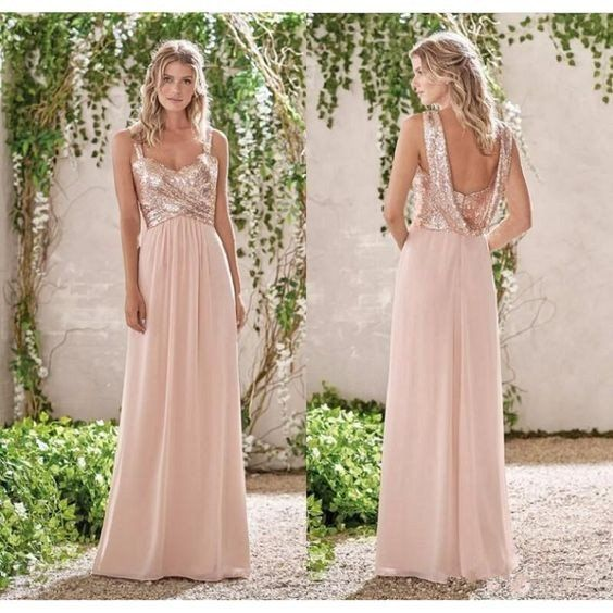 2017 New Rose Gold Bridesmaid Dresses A Line Spaghetti Straps Backless Wedding Party Dress Sequins Chiffon Maid of Honor Gowns