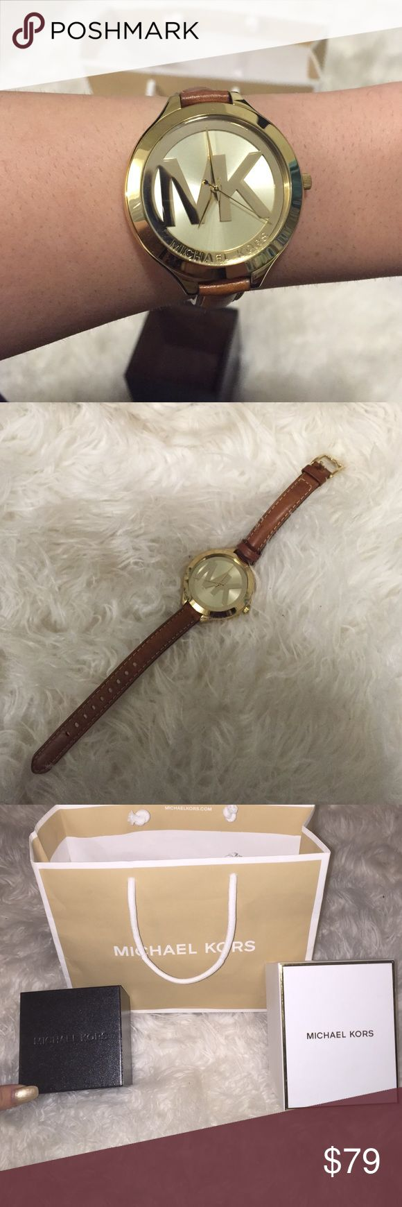 Micheal Kors gold watch ! Michael Kors gold watch with brown wrist band. In brand new condition no flaws. Will include two boxes and bag if wanted ! Also, this watch on sale in store is $125 so I am offering a great deal :) KORS Michael Kors Accessories Watches