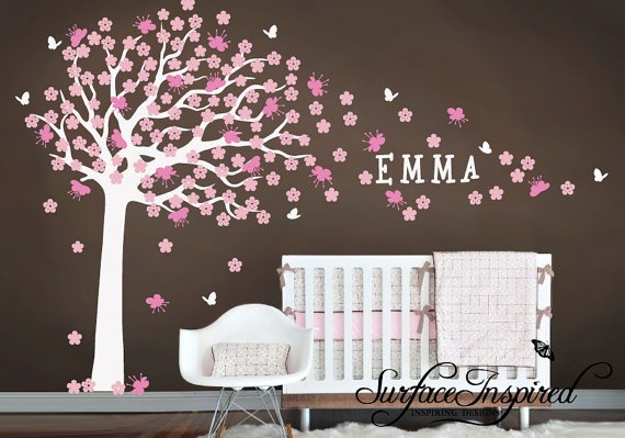 Beautiful cherry blossom wall decal ($99) in brown, pink and white for a girls nursery. Custom name and custom colors available too! By Surface Inspired: http://www.etsy.com/listing/95727245/nursery-wall-decals-large-cherry-blossom?ref=cat_gallery_8