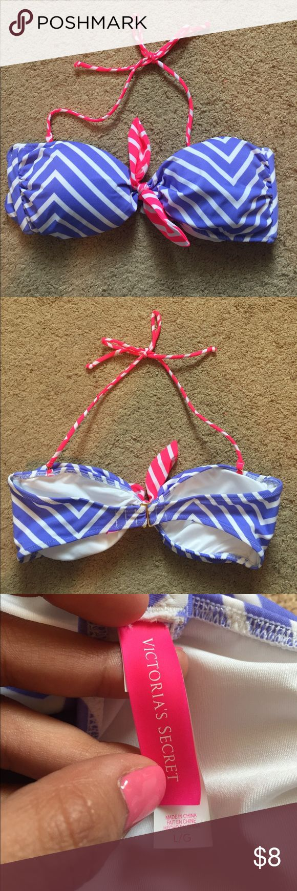 Victoria's Secret Chevron Bikini Top Bright purple and pink chevron patterned bikini top - padded and strapless with removable neck strap. Hardly worn, like new! (Too small for me now- fits more a C cup at max). PINK Victoria's Secret Swim Bikinis