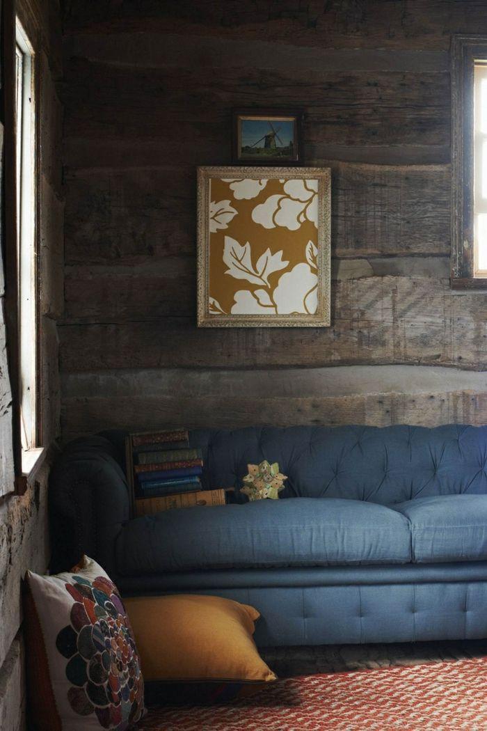 Wandgestaltung Ideen Holzpaneele Wohnzimmer Blaues Sofa