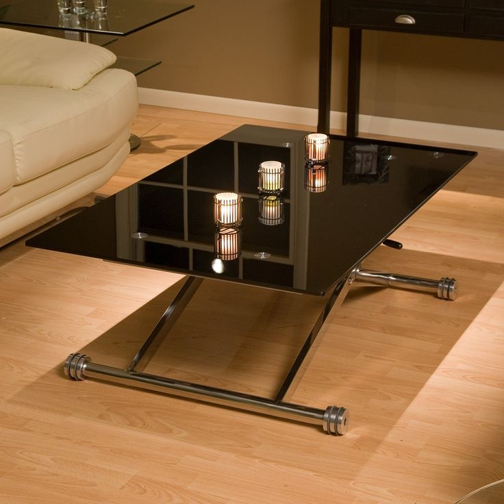 modern adjustable coffee table with rectangle black tempered glass coffee table top and stainless steel table
