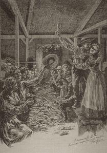 L'épluchette. Gravure de Raoul Barré parue dans Le Monde illustré, vol. 17, no 843 (30 juin 1900), p.144. Domaine public. http://catherineferlandhistorienne.com/2014/07/20/epluchette/