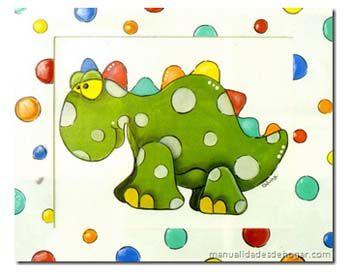 Tutorial de Cuadro infantil Dinosaurio (Pintura decorativa)