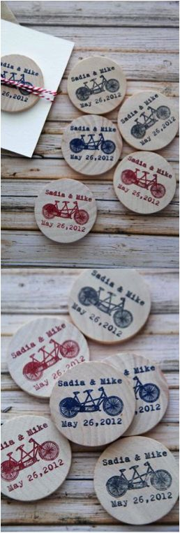 Lovely rustic save the date reminders with a tandem bicycle, perfect for weddings, engagement parties, eco-friendly parties and much more. | Made by people who care on Hatch.co
