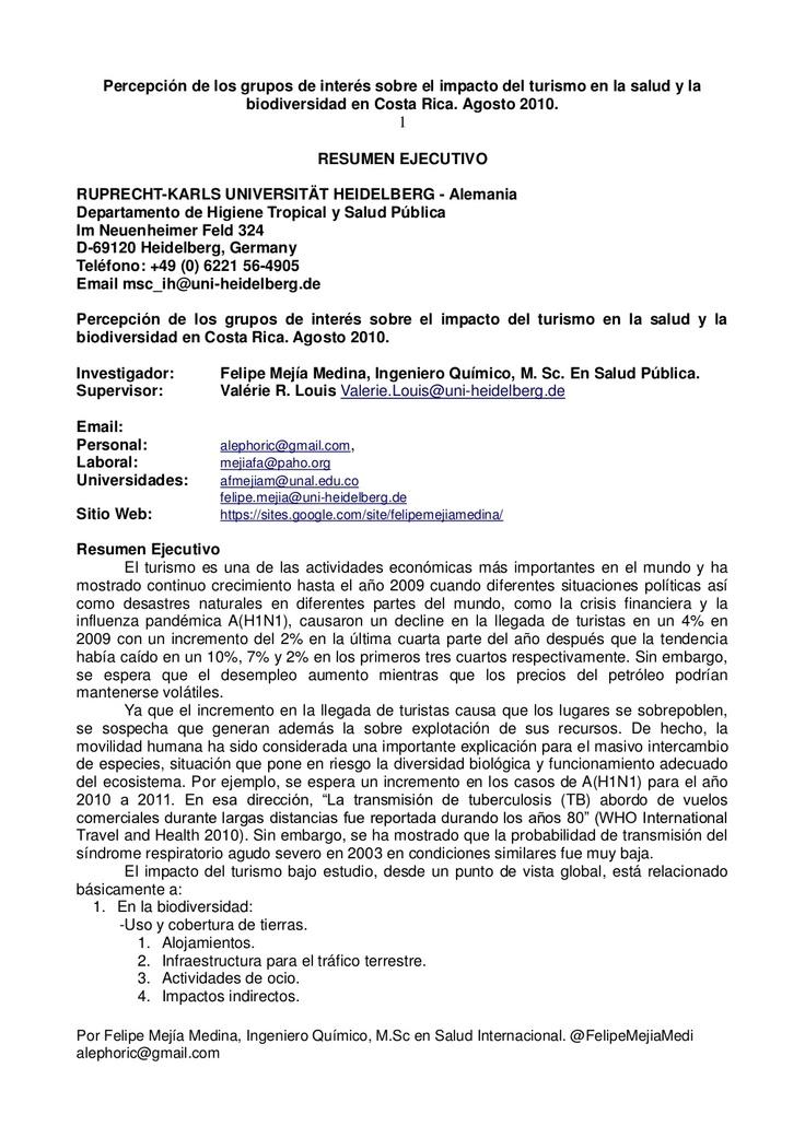 percepcin-de-los-grupos-de-inters-sobre-el-impacto-del-turismo-en-la-salud-pblica-agosto-2010-resumen-ejecutivo by Felipe Mejia Medina via Slideshare