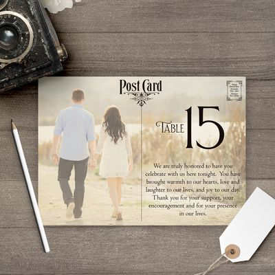 wedding table numbers, photo table numbers, wedding decor, postcard table numbers