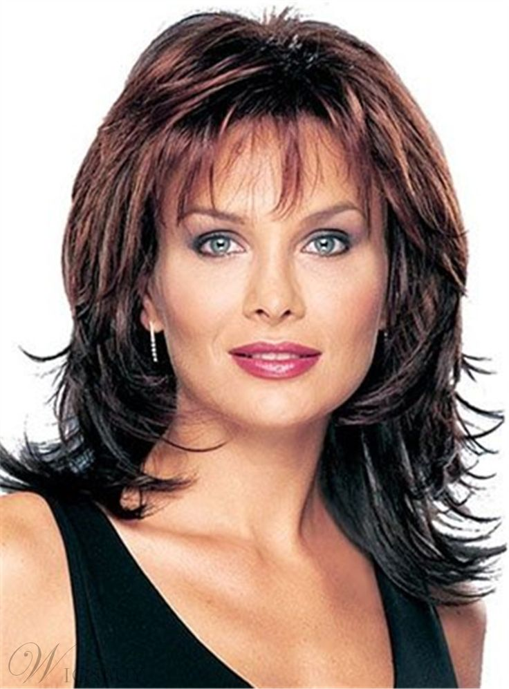 Layered Shag Wavy Hairstyle with Full Bangs Middle Length ...