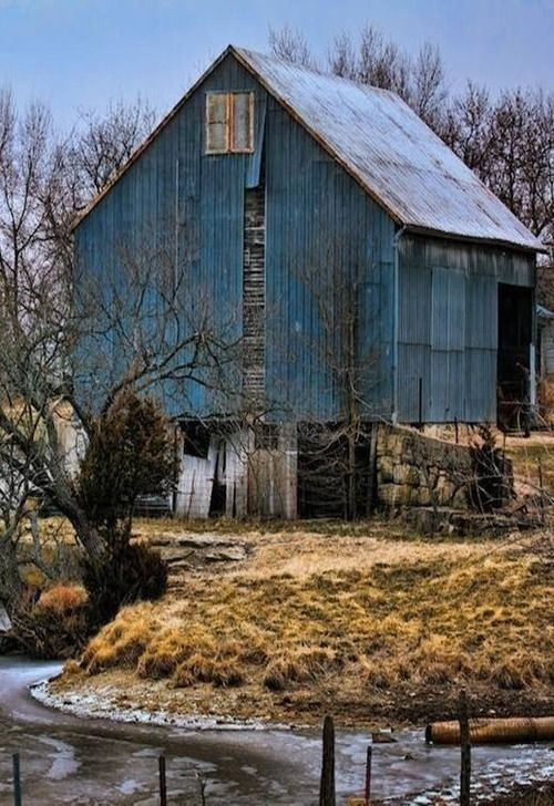 autumn in blue... blue is her favorite color and she loved old barns and buildings..so this is two for one.. I Miss you...
