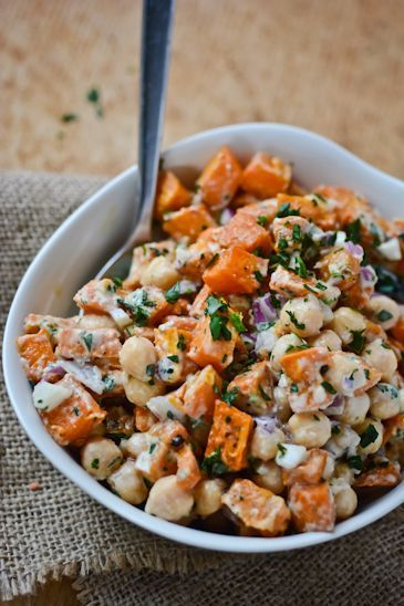 Sweet potato and chickpea salad recipe with red onions, parsley and tangy lemon dressing. Gluten-free