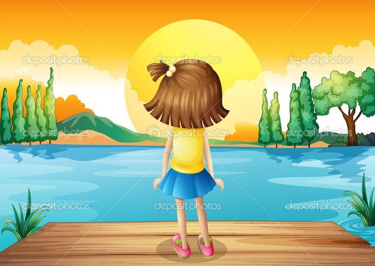 niña mirando al cielo animado - Buscar con Google