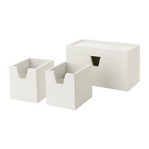 FÖRHÖJA Caixa, conj. 4 IKEA Ajuda-o a organizar pequenos objetos como acessórios de secretária, maquilhagem e acessórios para o cabelo.