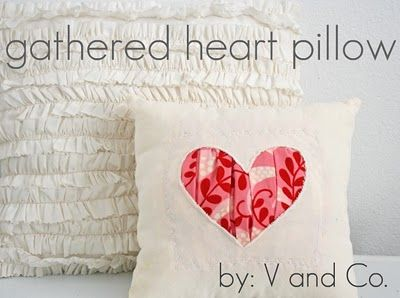 valentines decor: Idea, Craft, Sewing Projects, Valentines Day, Pillow Tutorial, Gathered Heart, Heart Pillow, Valentine S, Pillows