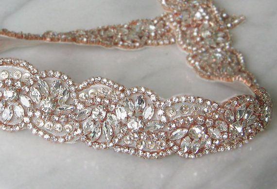 "Rose Gold Crystal Trim, Rose Gold Rhinestone Beaded, Rose Gold Bridal Applique for Wedding Gown or Sash, 24"""