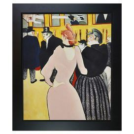 At the Moulin Rouge by Toulouse-Lautrec Framed Canvas Reproduction