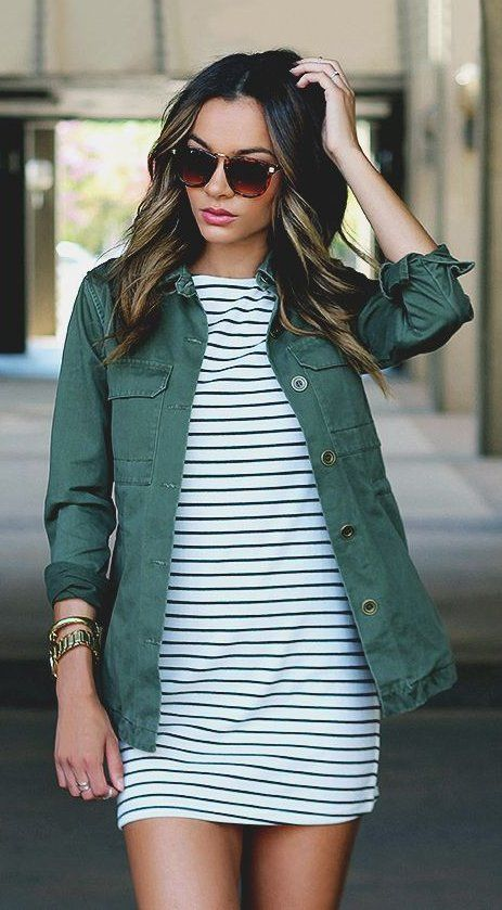 #summer #outfits  Green Jacket + White Striped Dress
