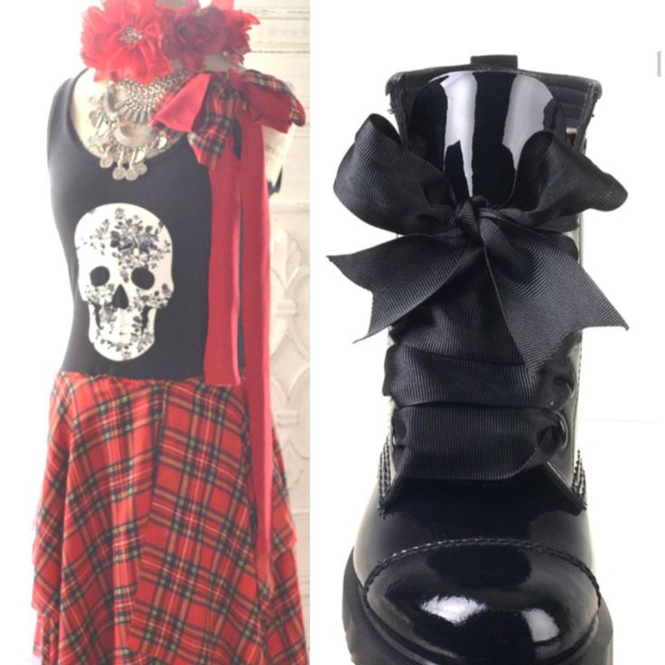 Photo shoot board, styling out the outfits for our next shoot ~ pretty punk, tartan plaid maxi dress