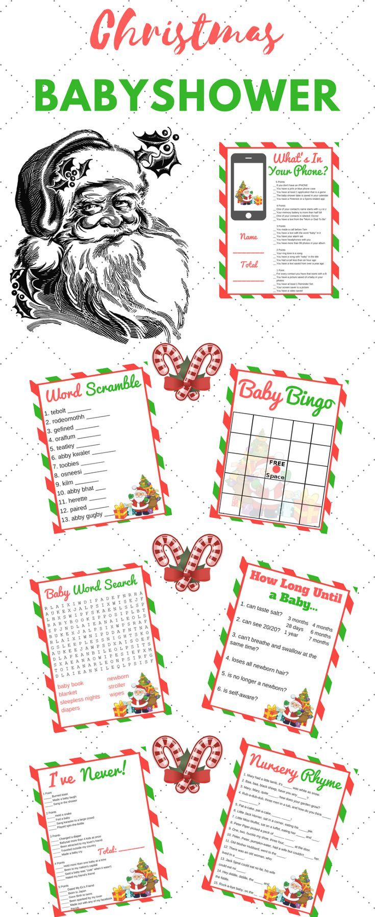 Christmas Baby Shower Printable Games Party Banners Pinterest