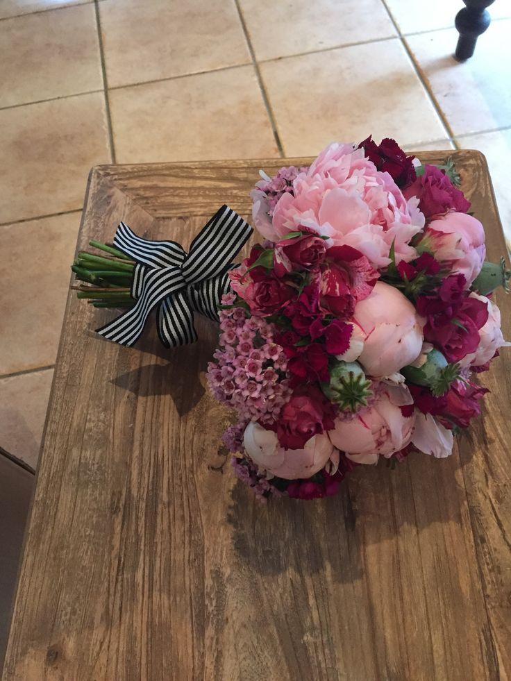 Pink Peony Bouquet, striped ribbon