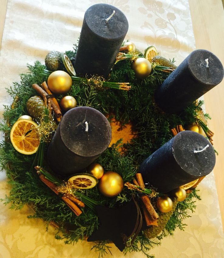 Adventskranz schwarz- Gold