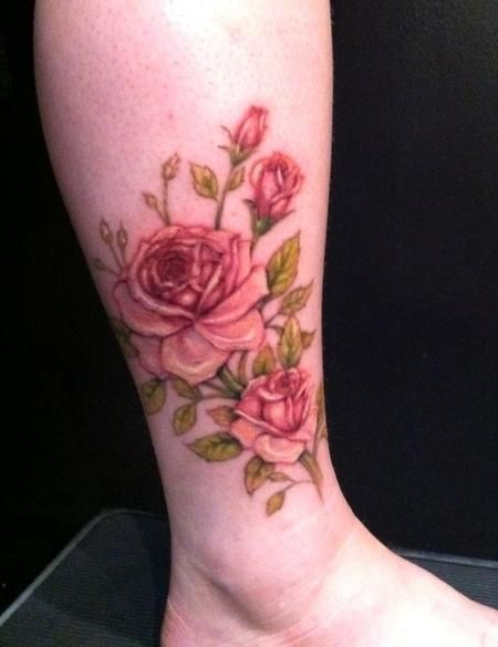 Pink Rose Ankle Tattoo - Jessica Brennan - The Best Flower Tattoos | The Best Flower Tattoos