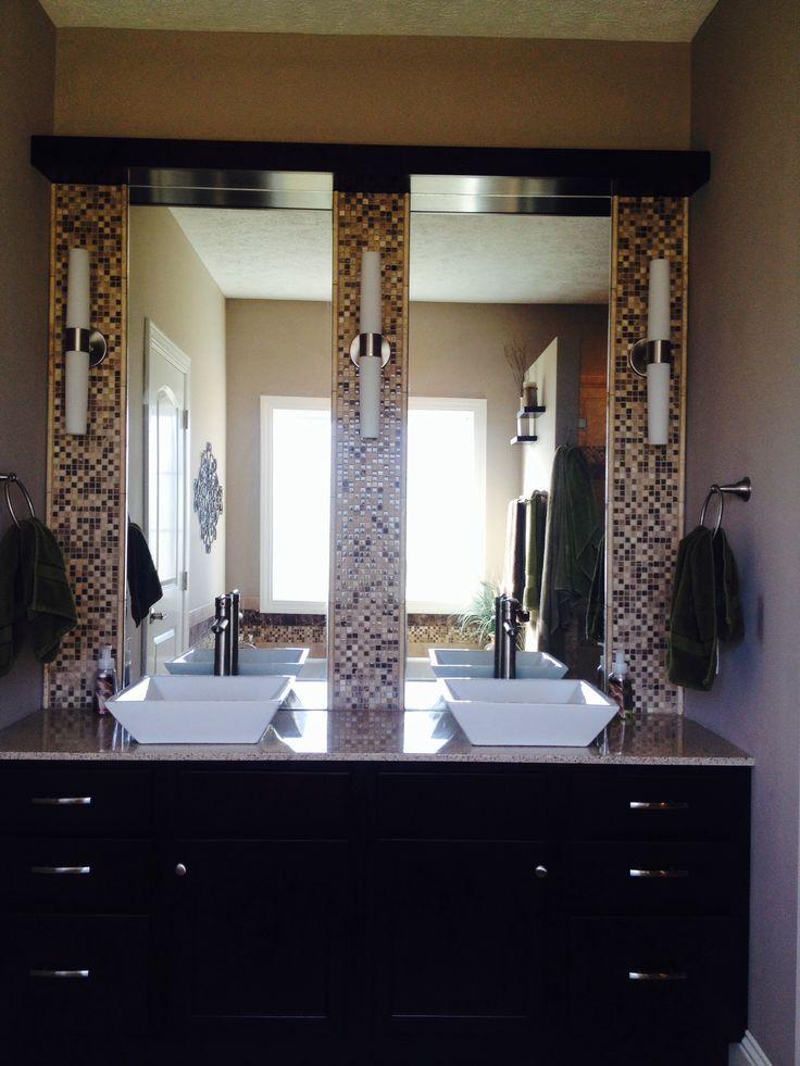 Vanity Lights Masters : Master bathroom vanity double sink . Double mirrors. Triple lights. Mosaic backsplash. Square ...