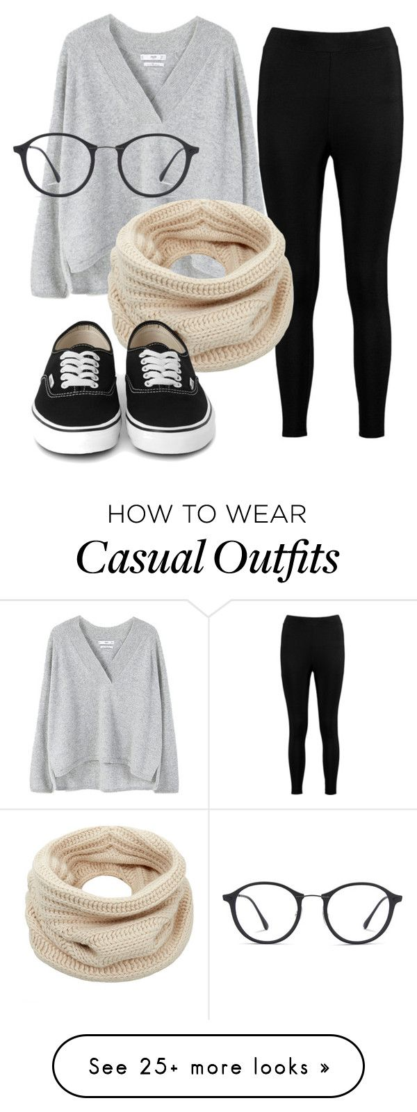 """""""Casual 52"""" by charlotteflowerlover on Polyvore featuring Boohoo, MANGO, Helmut Lang, Ray-Ban, casual and Nerdy"""