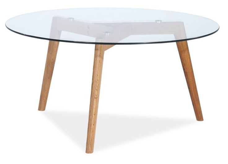 Stolik Lino Glass, blat ze szkła hartowanego, stelaż drewniany, kolor dąb. Wymiary: 45*80 Cena: 275 zł nordicdecoration.com