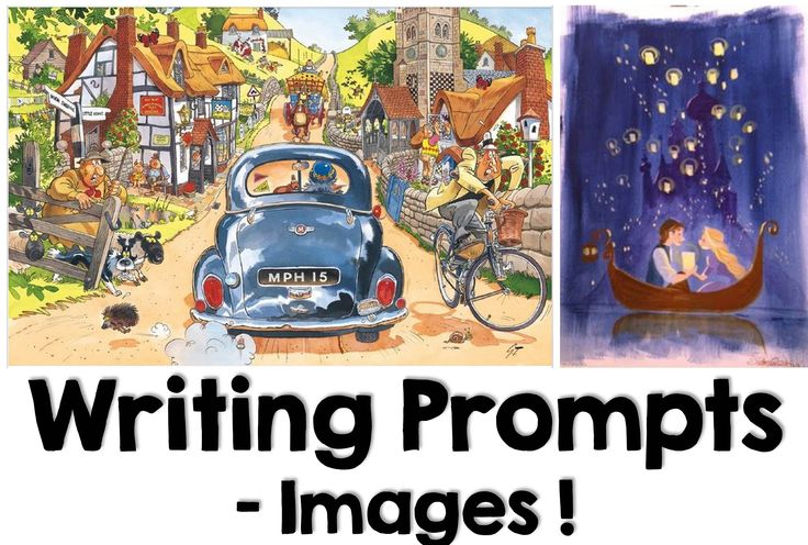 A board filled with illustrations and images that can serve as writing prompts!