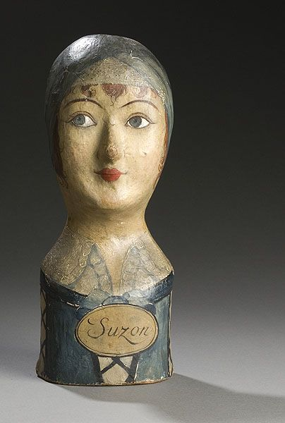 """Suzon"", Painted Papier-Mâché Milliner's Head ( French, circa 1800)~Image © Cowan's Auctions"