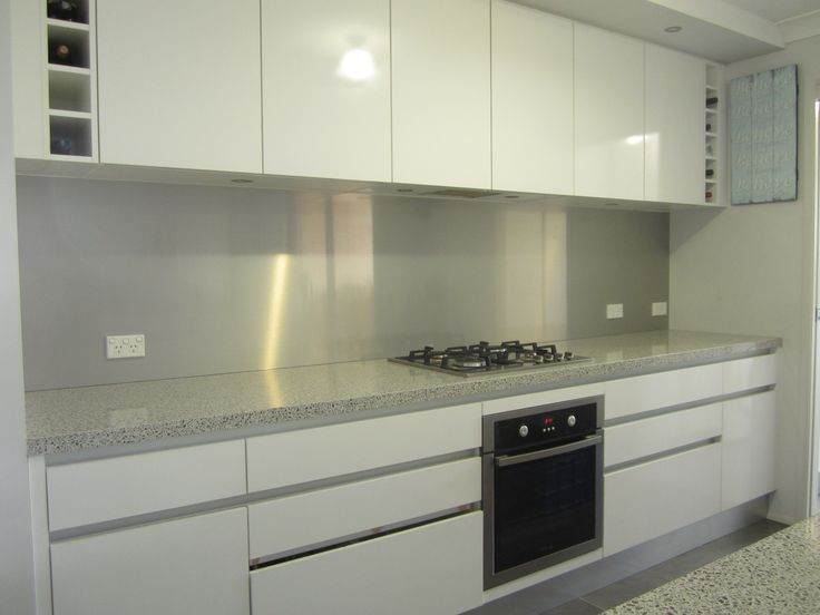 """We have a new Laminex Metaline splashback colour """"BRUSHED ALUMINIUM"""". It combines the clean lines of all Metaline installations with an elegant solution for kitchen splashbacks where a neutral colour is preferred. A great face lift for any kitchen."""