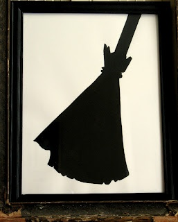 How to make a set of three Halloween silhouettes with a bottle of black craft paint and $1.00 dollar store frames