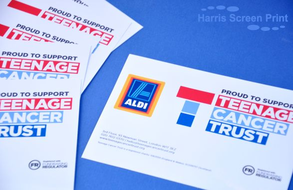 Waterproof charity bucket stickers printed for Teenage Cancer Trust