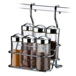 Suporte para Temperos com 6 Porta Temperos de Vidro para Barra de Cozinha em Aço Cromado