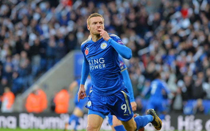 Download wallpapers Jamie Vardy, 4k, goal, Leicester City, football, Premier League, soccer, England