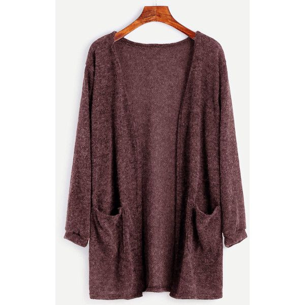 Dual Pocket Open Front Cardigan ($12) ❤ liked on Polyvore featuring tops, cardigans, brown, long sleeve open front cardigan, brown long sleeve top, long sleeve tops, open front cocoon cardigan and open cardigan