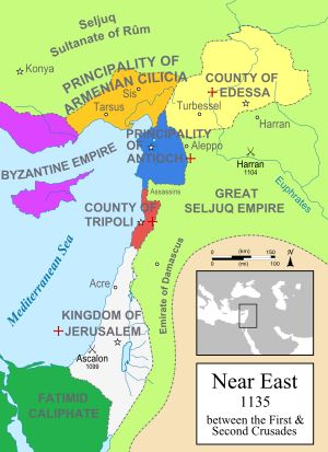 Map of the Eastern Mediterranean in 1135. The Frankish Crusader states are indicated with a red cross ☩: Kingdom of Jerusalem, County of Tripoli, Principality of Antioch, County of Edessa. The Principality of Armenian Cilicia was a Crusader state under Armenian (Rubenid) rule. The remnant of the Byzantine Empire is visible in the west; the (nascent) Seljuq Empire and Fatimid Egypt are shown in green.