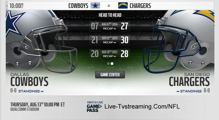 Watch Dallas Cowboys Vs San Diego Chargers Live Streaming