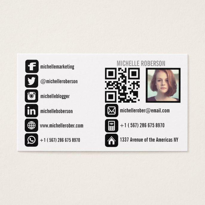 Headshot Qr Code And Social Media Icons Business Card Zazzle Com In 2021 Social Media Icons Social Media Business Cards Business Card Inspiration