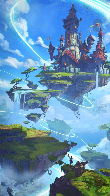 Pulau langit (Dengan gambar) Pemandangan khayalan, Karya