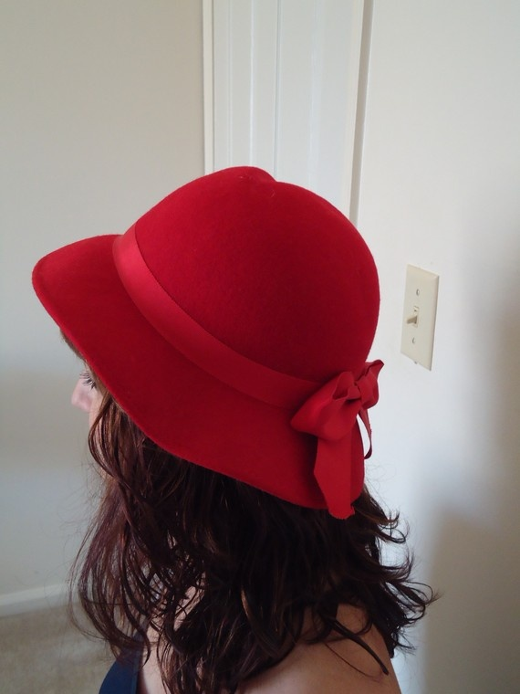 Vintage Red Wool Lancaster Hat with Bow  f44abdca1