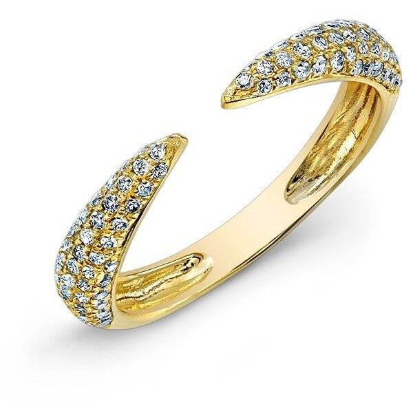14KT Yellow Gold Diamond Horn Pinkie Ring ($580) ❤ liked on Polyvore featuring jewelry, rings, gold rings, gold jewelry, gold pinky ring, horn ring and yellow gold jewelry