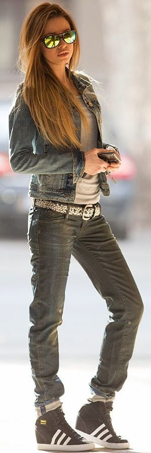 Studded Belt With Total Denim Fall Street Style Inspo #Fashionistas