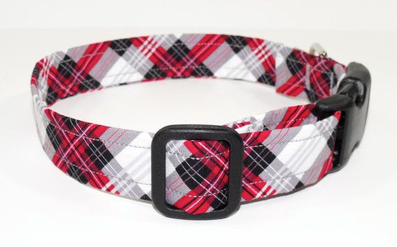 Red Black Plaid Dog Collar by SewPawsitive on Etsy, $13.00 – For Big Buddy * My Mastador